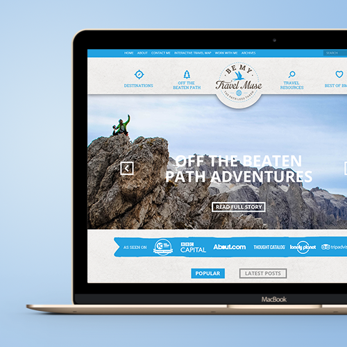Web page design for BeMyTravelMuse.com by DSKY