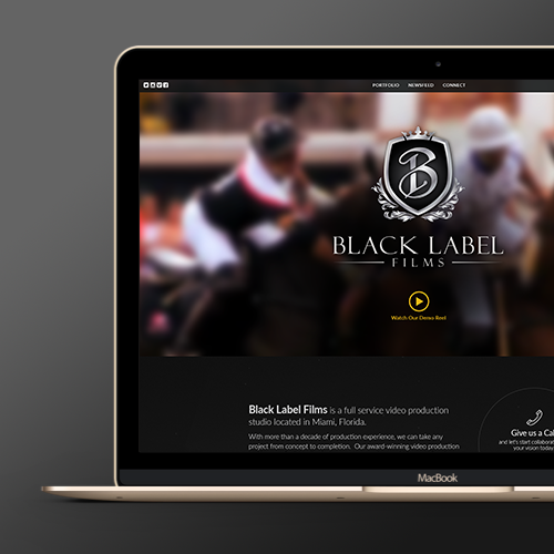 Web page design for Black Label Films by WebBox