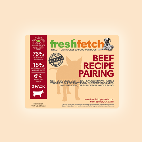 Product label for freshfetch Pet Foods by Kirill K