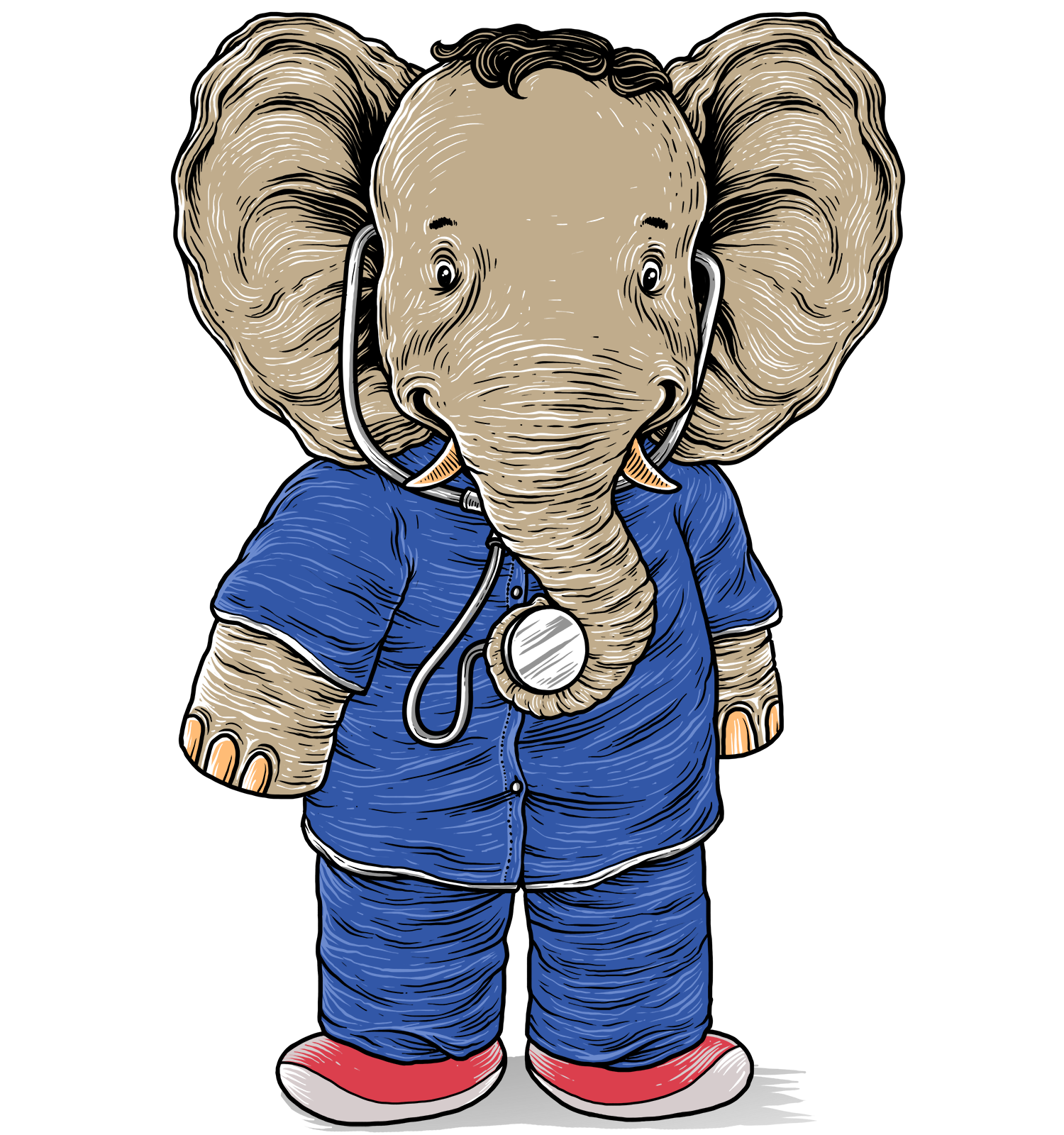Eli the elephant doctor is blue to calm you!