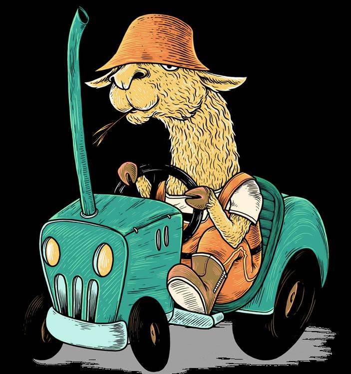 Larry das Lama als Bauer auf seinem Traktor