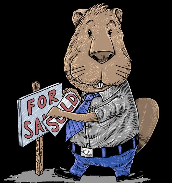 """Roger der Immobilienmakler Biber mit einem """"Zu verkaufen"""" Schild"""