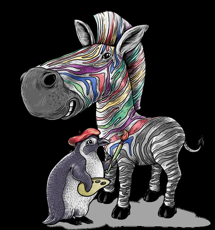 Picasso der Pinguin und Zane das Zebra