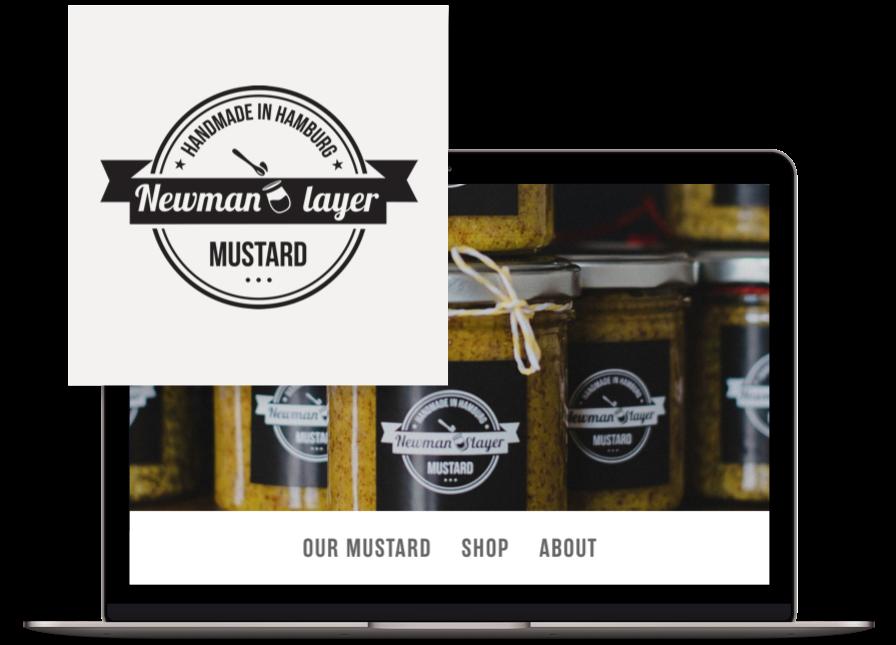 Newman layer mustard logo & website design by Databoy
