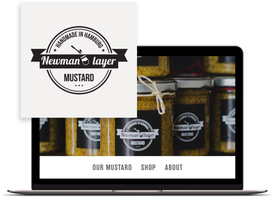 Newman layer mustard logo & website design by Databoy