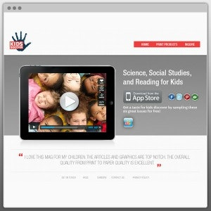 Winning Web page design entry for Kids Discover