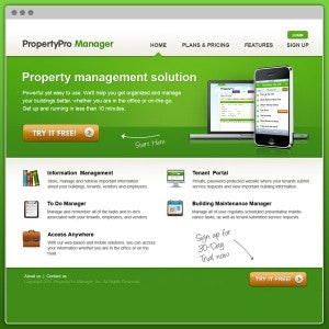 Winning Web page design entry for PropertyPro Manager