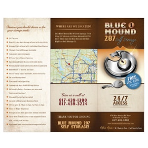 Winning Product packaging entry for Blue Mound 287 Self Storage