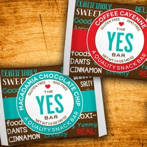 Winning Product packaging entry for YES Bar Company