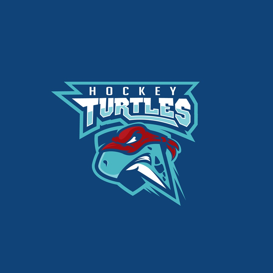 Hockey turtles sports logo design