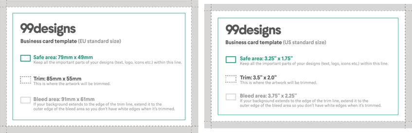 For Example Standard Horizontal Business Cards Are 3 5 X 2 Inches In The Us And 85 55 Mm Eu