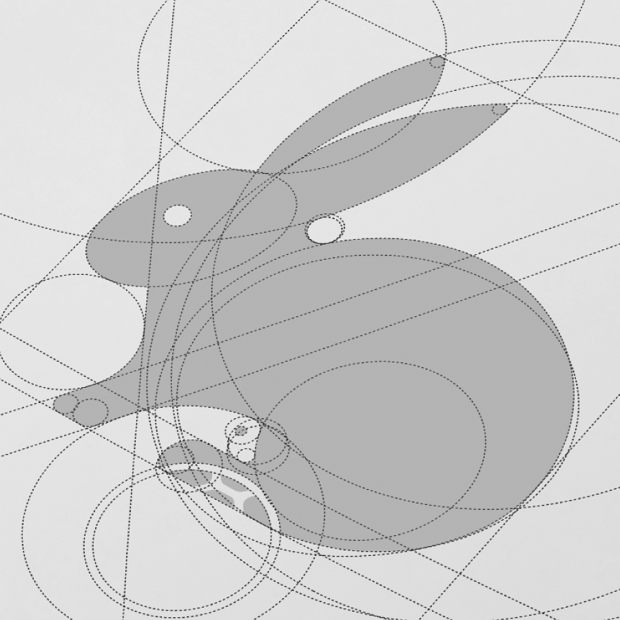 rabbit logo design made of circles